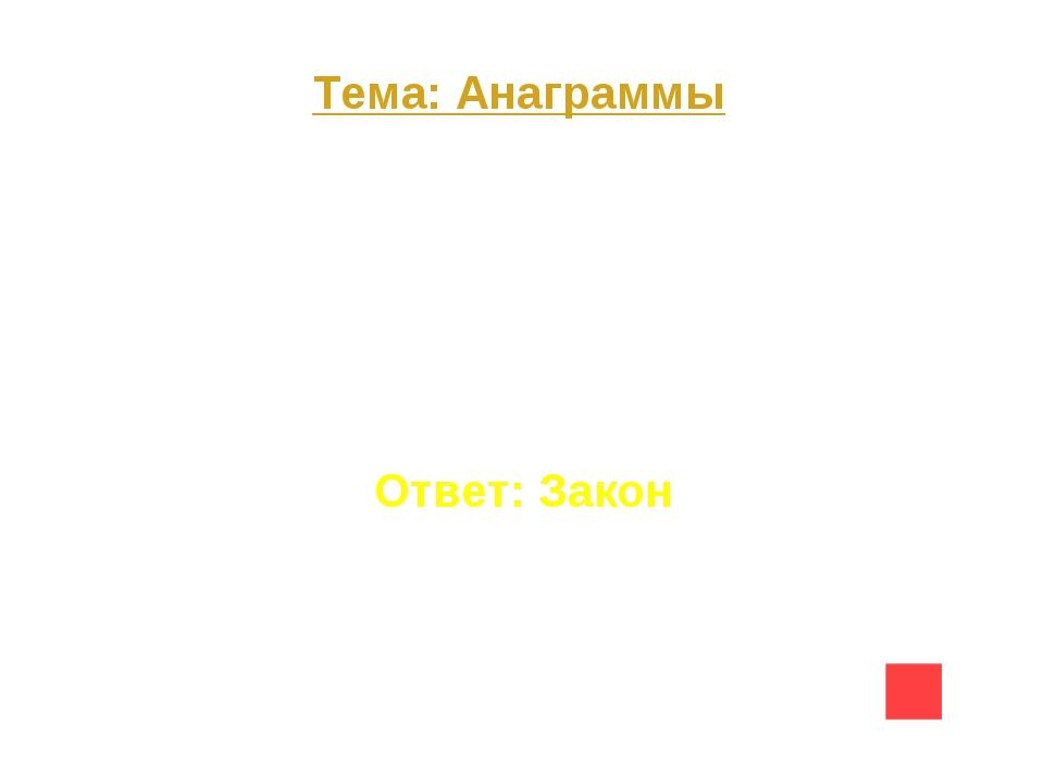 Тема: Анаграммы Вопрос на 10 К О Н З А Ответ: Закон