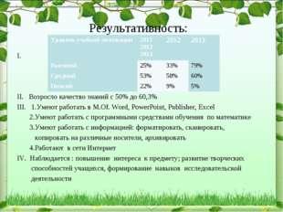 Результативность: I. II. Возросло качество знаний с 50% до 60,3% III. 1.Умею
