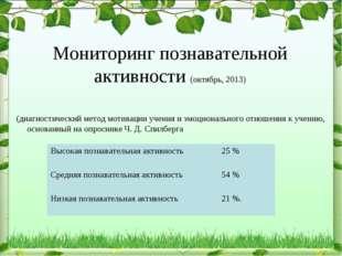 Мониторинг познавательной активности (октябрь, 2013) (диагностический метод м