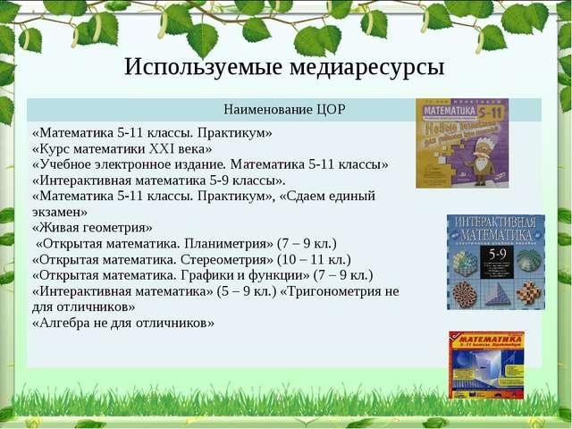 Используемые медиаресурсы Наименование ЦОР «Математика 5-11 классы. Практик...
