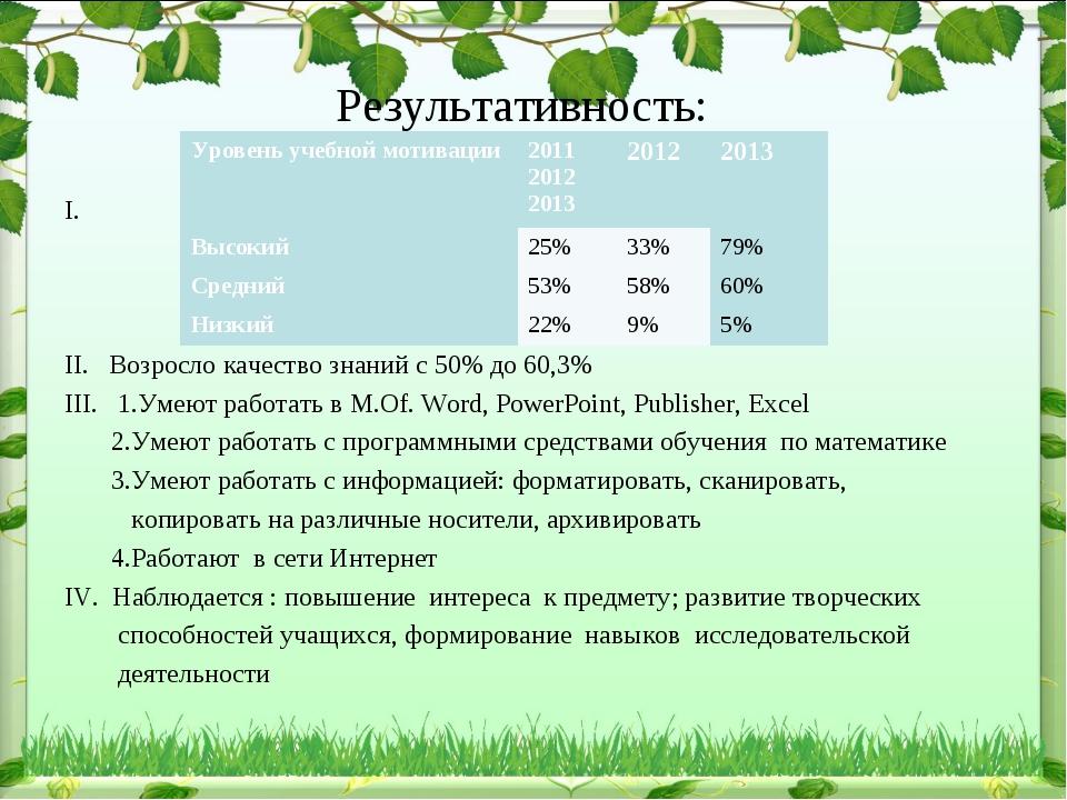 Результативность: I. II. Возросло качество знаний с 50% до 60,3% III. 1.Умею...