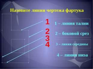 Назовите линии чертежа фартука 1 2 3 4 1 – линия талии 2 – боковой срез 3 – л
