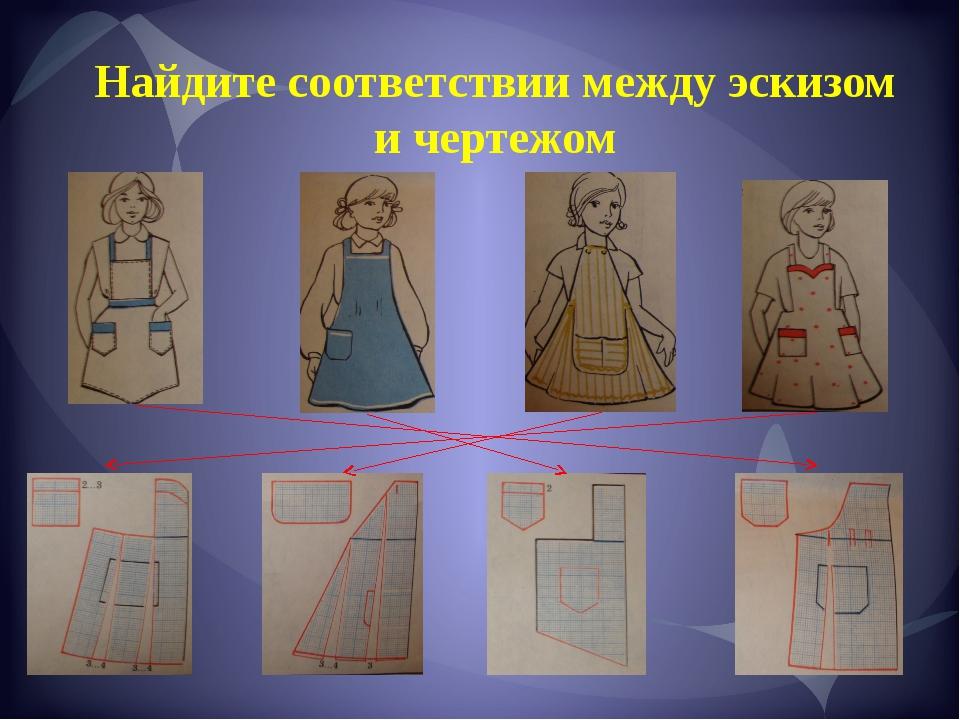 Найдите соответствии между эскизом и чертежом