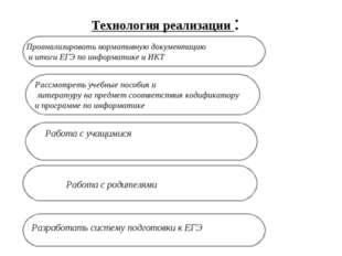 Технология реализации : Рассмотреть учебные пособия и литературу на предмет с