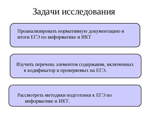Задачи исследования Проанализировать нормативную документацию и итоги ЕГЭ по...