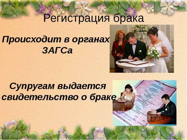 Регистрация брака Происходит в органах ЗАГСа Супругам выдается свидетельство...