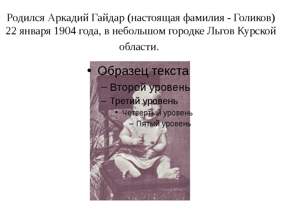 Родился Аркадий Гайдар (настоящая фамилия - Голиков) 22 января 1904 года, в н...