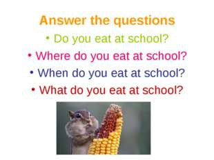 Answer the questions Do you eat at school? Where do you eat at school? When d