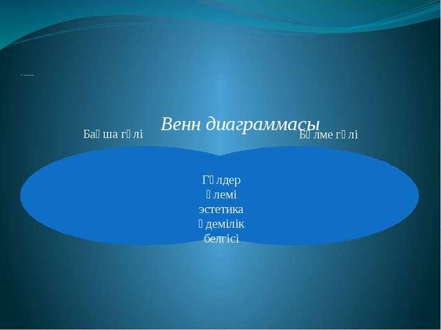 V. Қорытынды Венн диаграммасы Гүлдер әлемі эстетика әдемілік белгісі Бақша г...