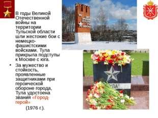 В годы Великой Отечественной войны на территории Тульской области шли жестоки