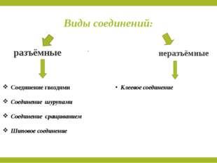 Виды соединений: Соединение гвоздями Соединение шурупами Соединение сращивани