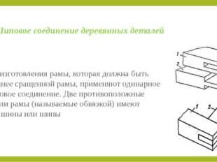 Шиповое соединение деревянных деталей Для изготовления рамы, которая должна