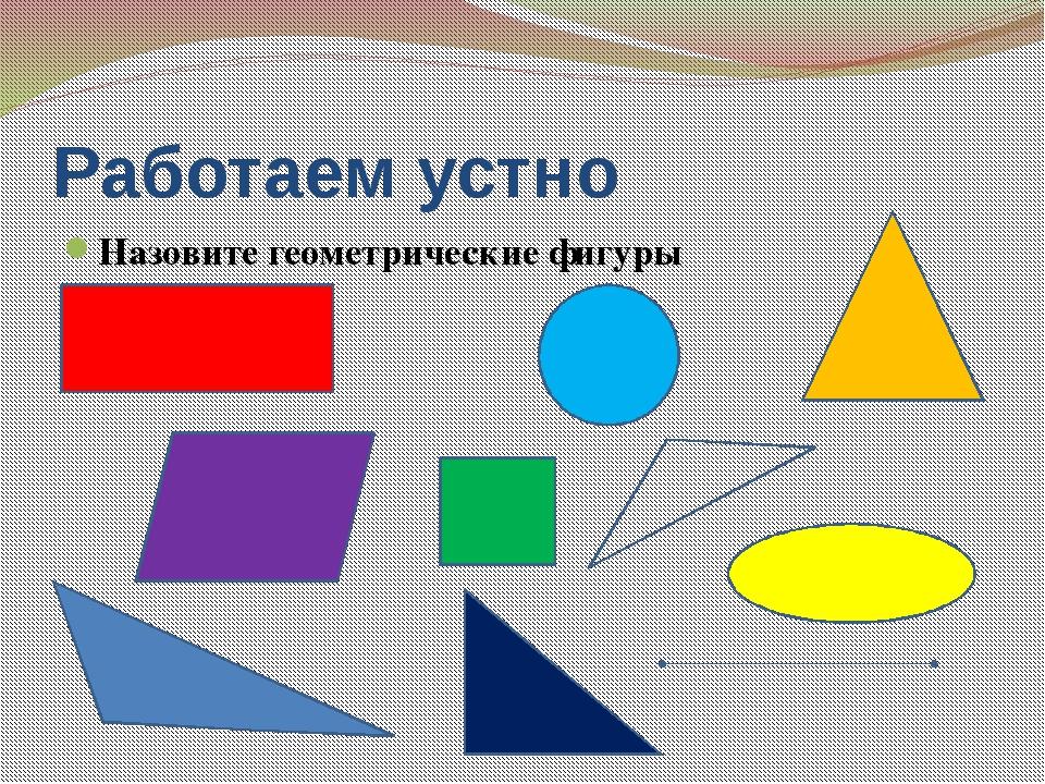 Работаем устно Назовите геометрические фигуры