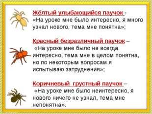 Красный Жёлтый улыбающийся паучок - «На уроке мне было интересно, я много уз