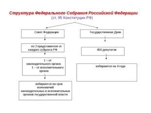 Совет Федерации Государственная Дума по 2 представителя от каждого субъекта Р