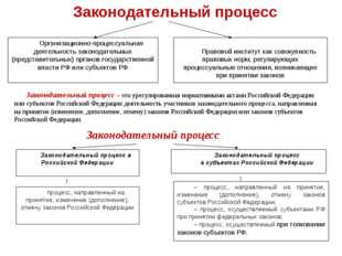 Организационно-процессуальная деятельность законодательных (представительных)