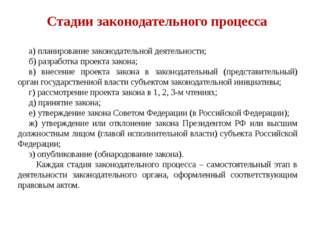 Стадии законодательного процесса а) планирование законодательной деятельност