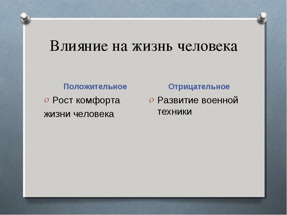 Влияние на жизнь человека Положительное Отрицательное Рост комфорта жизни чел...