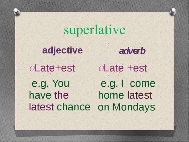 superlative adjective adverb Late+est e.g. You have the latest chance Late +e...