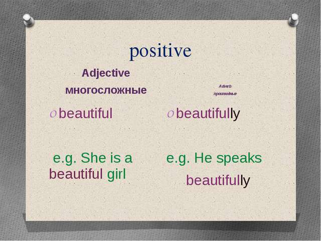 positive Adjective многосложные Adverb производные beautiful e.g. She is a be...