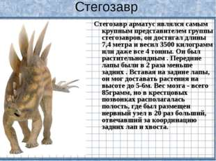 Стегозавр Стегозавр арматус являлся самым крупным представителем группы стего
