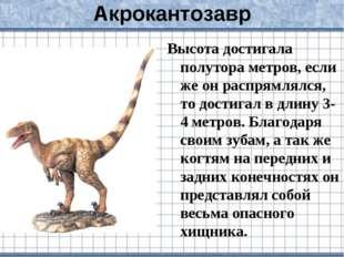 Акрокантозавр Высота достигала полутора метров, если же он распрямлялся, то д