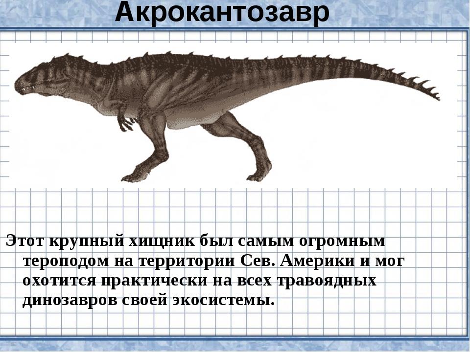 Акрокантозавр Этот крупный хищник был самым огромным тероподом на территории...