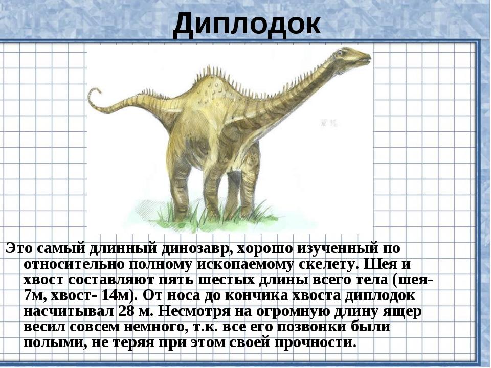 Диплодок Это самый длинный динозавр, хорошо изученный по относительно полному...