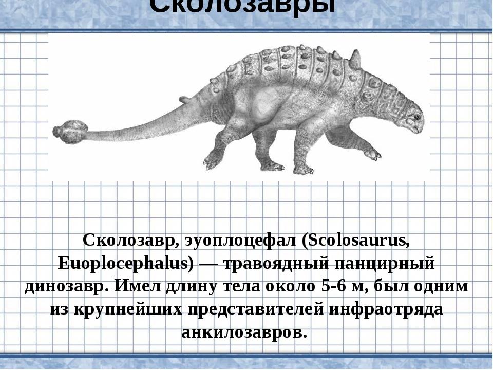 Сколозавры Сколозавр, эуоплоцефал (Scolosaurus, Euoplocephalus) — травоядный...
