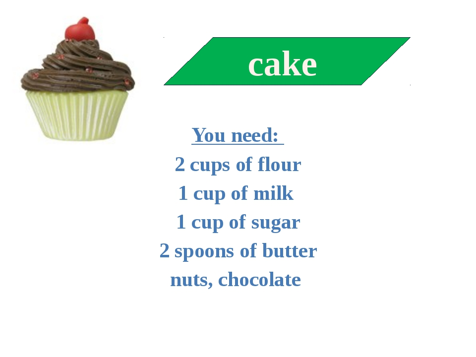 You need: 2 cups of flour 1 cup of milk 1 cup of sugar 2 spoons of butter nu...