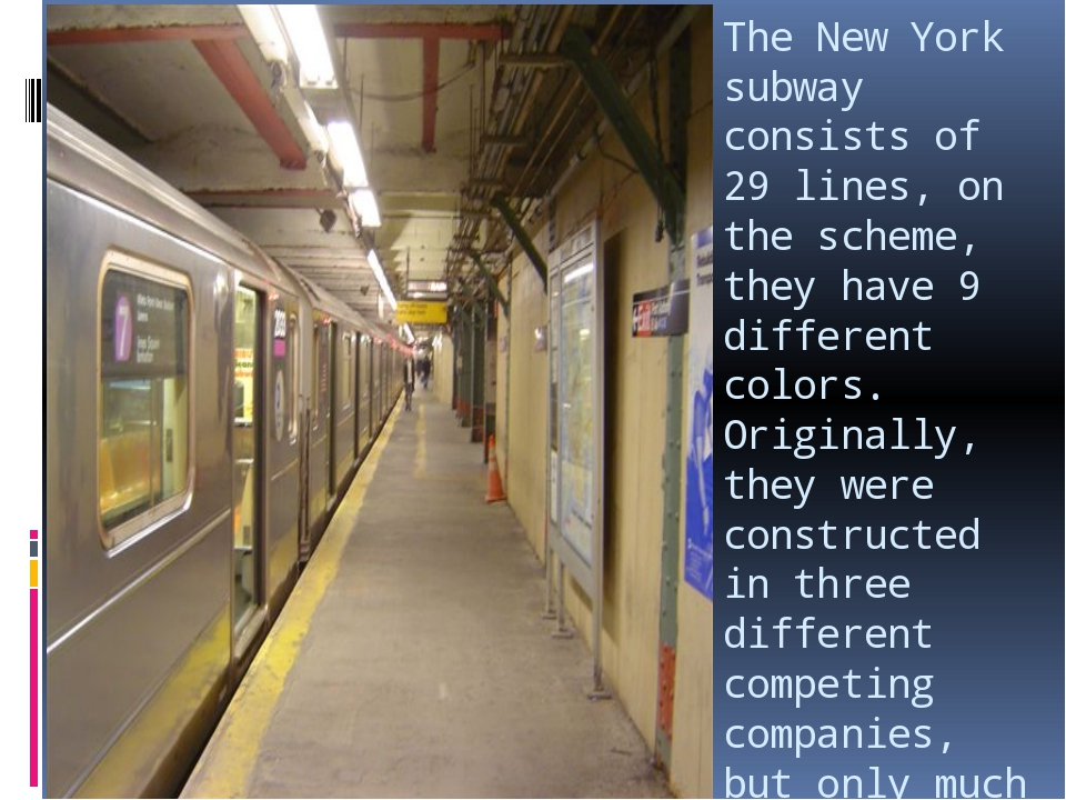 The New York subway consists of 29 lines, on the scheme, they have 9 differen...