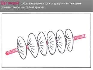 Шаг второй: собрать на резинки кружки для рук и ног,закрепив ручными стежками