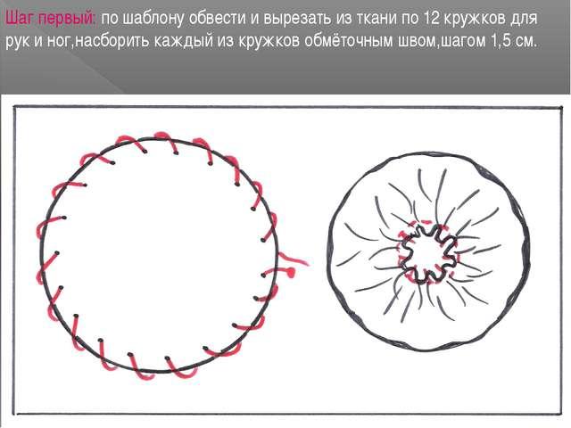 Шаг первый: по шаблону обвести и вырезать из ткани по 12 кружков для рук и но...