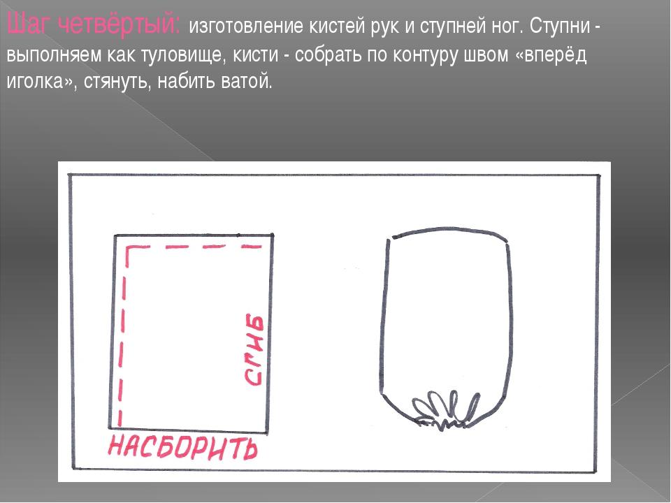 Шаг четвёртый: изготовление кистей рук и ступней ног. Ступни - выполняем как...