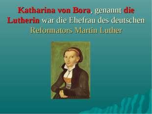 Katharina von Bora, genannt die Lutherin war die Ehefrau des deutschen Refor