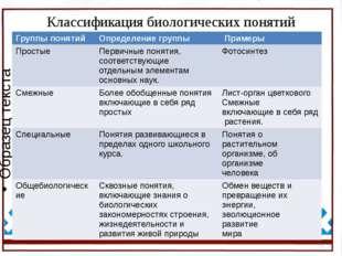 Классификация биологических понятий Группы понятий Определение группы Примеры