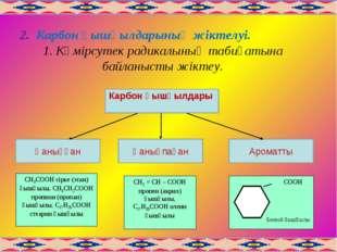 2. Карбон қышқылдарының жіктелуі. 1. Көмірсутек радикалының табиғатына байлан