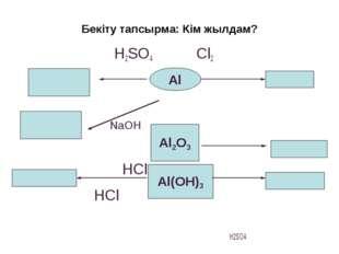 Бекіту тапсырма: Кім жылдам?  H2SO4 Cl2  NaOH HCl HCl H2SO4  Al