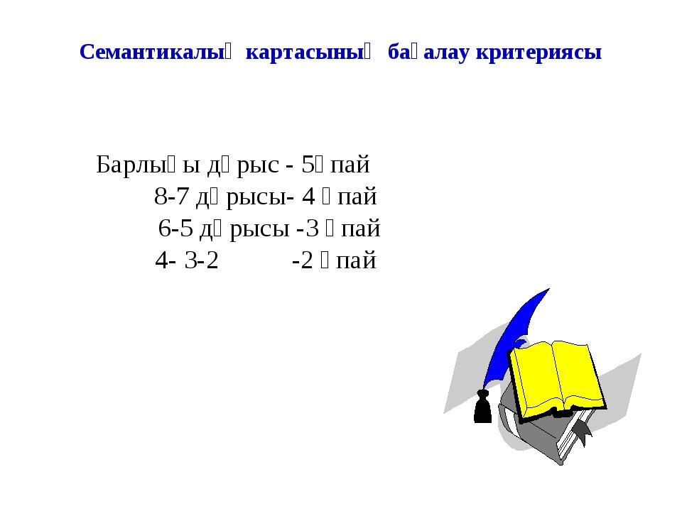 Семантикалық картасының бағалау критериясы Барлығы дұрыс - 5ұпай 8-7 дұрысы-...
