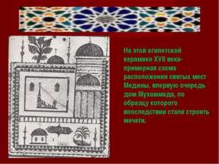 На этой египетской керамике XVІІ века-примерная схема расположения святых ме