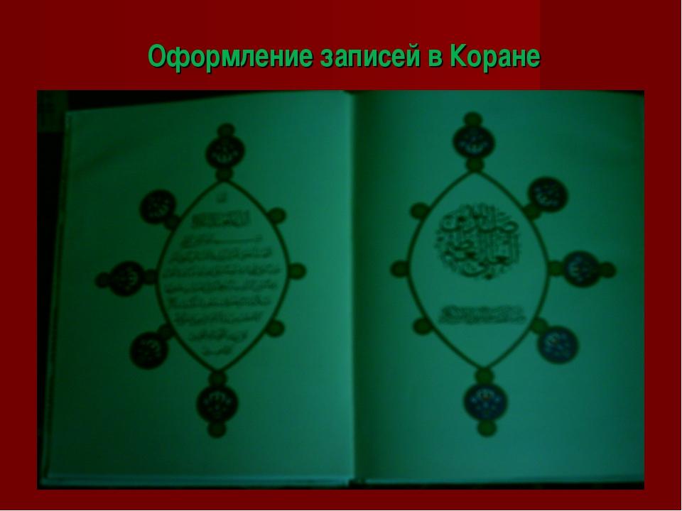 Оформление записей в Коране