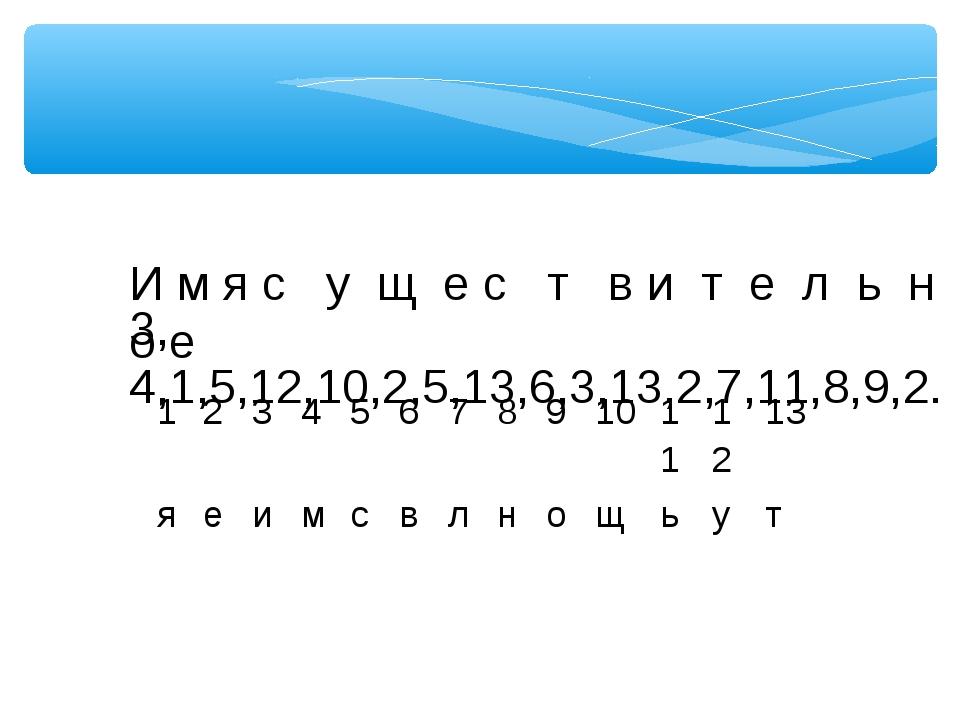 3, 4,1,5,12,10,2,5,13,6,3,13,2,7,11,8,9,2. И м я с у щ е с т в и т е л ь н о...