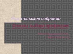 Родительское собрание Основы выбора профессии Работа Прудниковой А.И. МКОУ СО