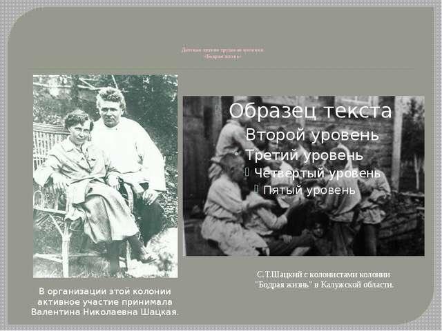 Детская летняя трудовая колония «Бодрая жизнь» В организации этой колонии ак...