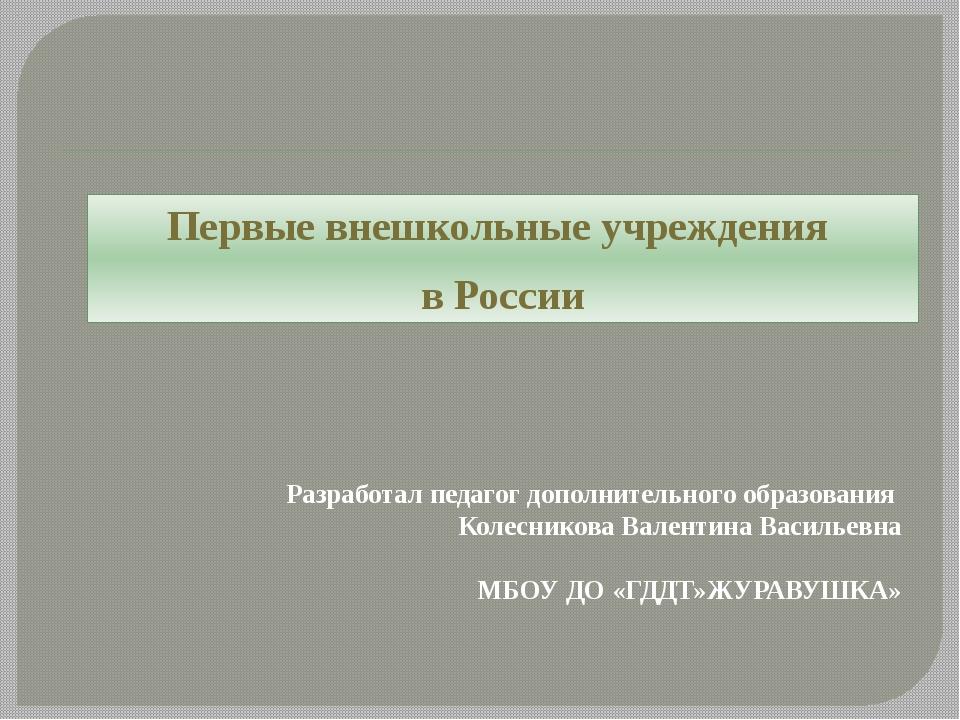 Разработал педагог дополнительного образования Колесникова Валентина Васильев...