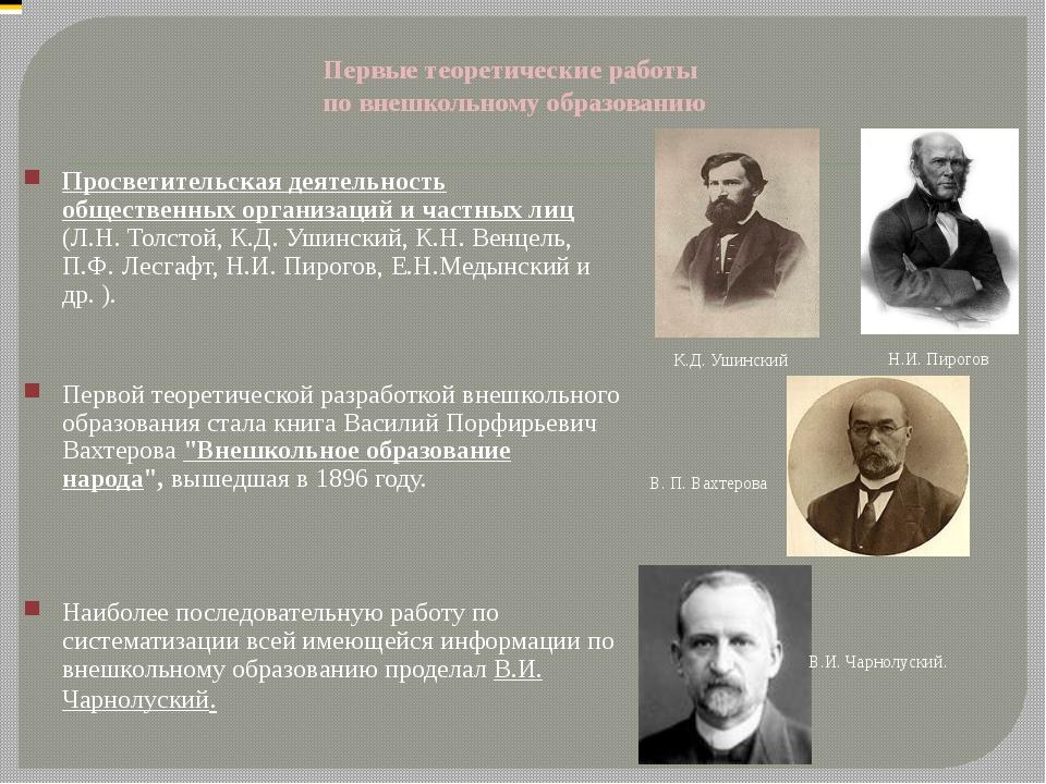 Первые теоретические работы по внешкольному образованию Просветительская деят...