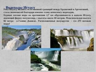 Водопады Игуасу Река Игуасу, являясь естественной границей между Бразилией и