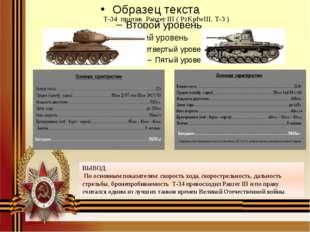 Т-34 против Panzer III ( PzKpfwIII, Т-3 ) ВЫВОД. По основным показателям: ск