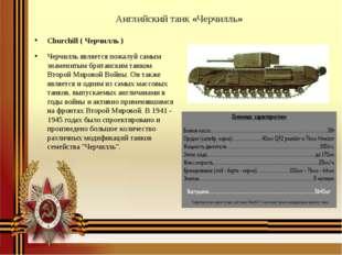 Английский танк «Черчилль» Churchill ( Черчилль ) Черчилль является пожалуй с