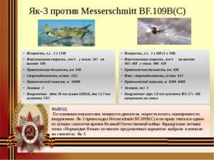 Як-3 против Messerschmitt BF.109B(C) Мощность, л.с. 1 х 1240 Максимальная с